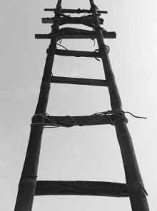 ladder wood blackandwhite old